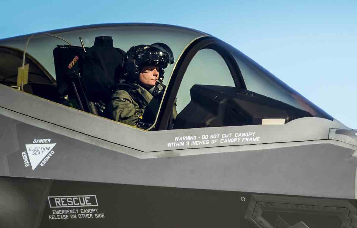 F-35 helmet in cockpit