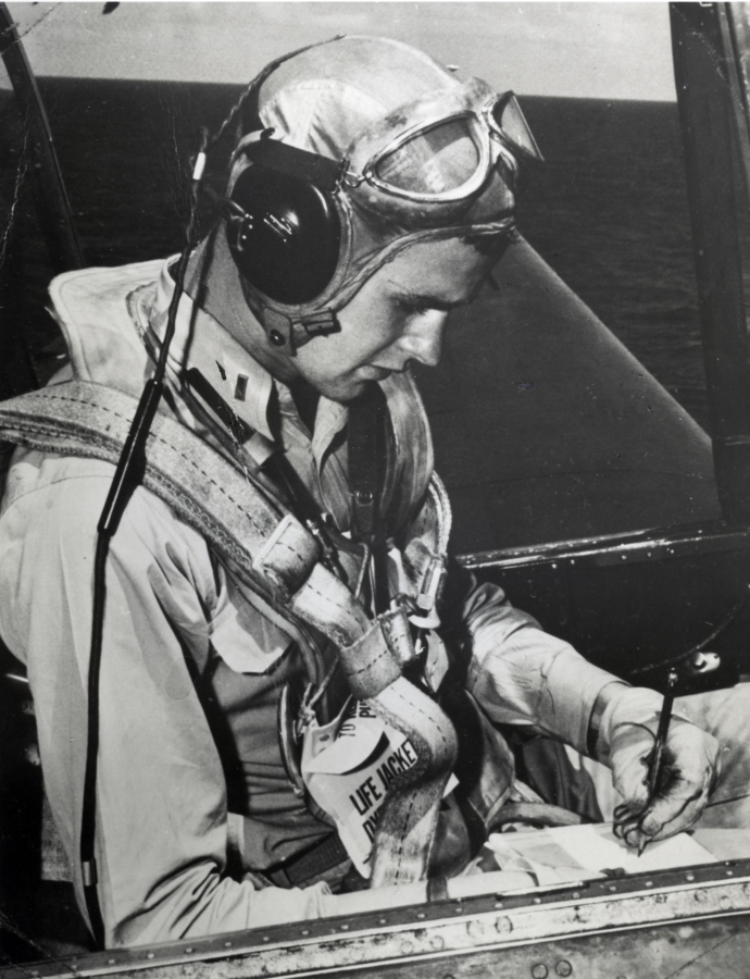 George H. W. Bush in the cockpit of an Avenger. Photo courtesy George Bush Presidential Library and Museum.