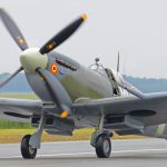 Supermarine Spitfire taxiis on runway