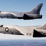 F-8 Crusaders in Flight