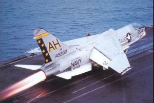 F-8 Crusader Takes Off Aircraft Carrier