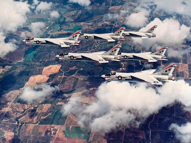 F-8 Crusaders in Formation