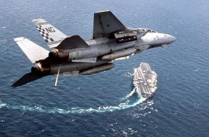 F-14 Tomcat Over Aircraft Carrier