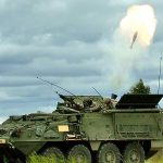 Stryker Land vehicle firing missile