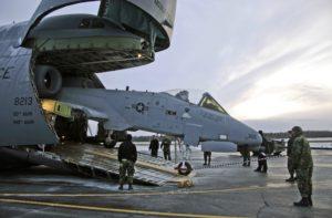 C-5 Galaxy Unloads A-10