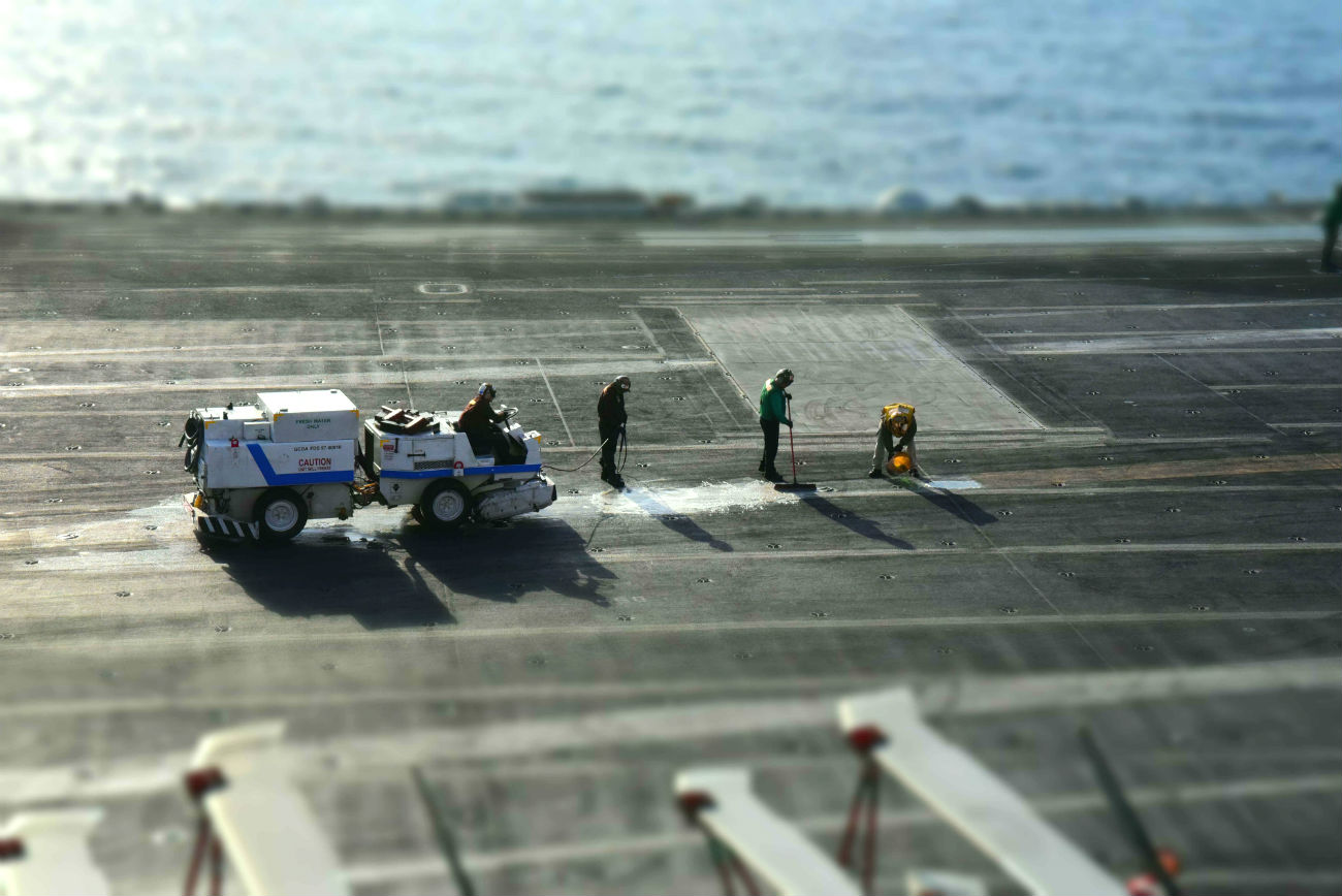 Aircraft carrier cleaners