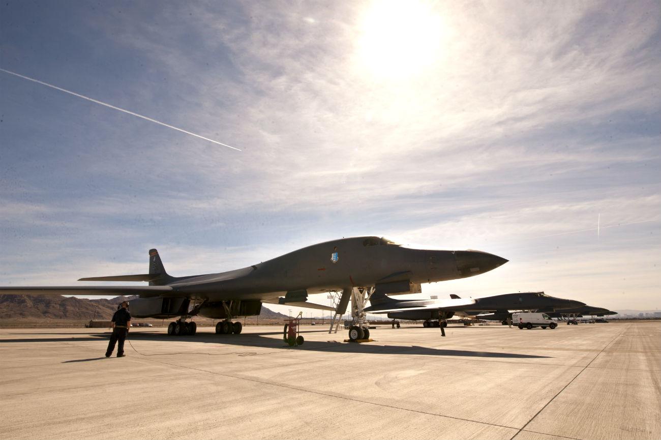 B-1B lancer aircraft parked
