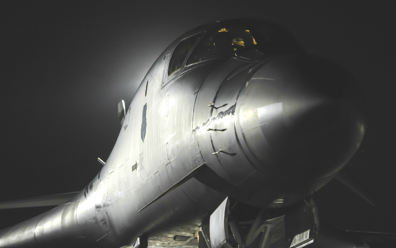 B-1b Lancer aircraft night