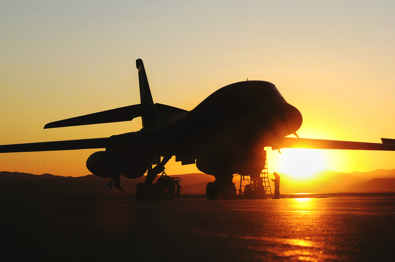 B-1b Lancer aircraft sunset