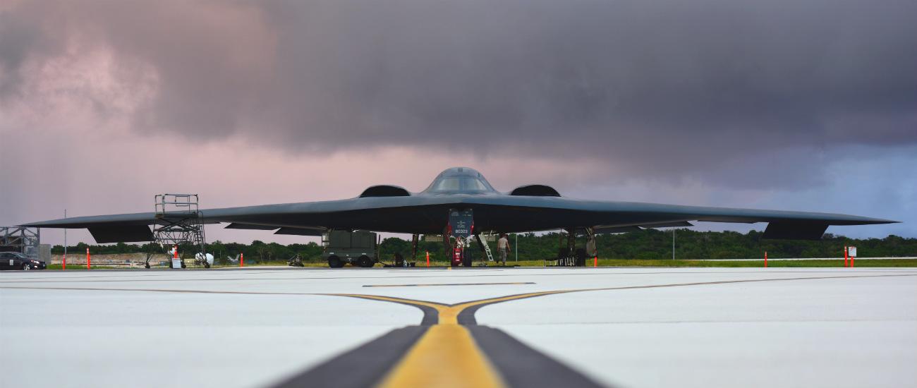 B-2 Images Spirit Parked Dusk