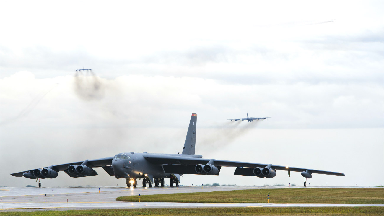 B-52 Stealth Bomber Taxi takeoffs