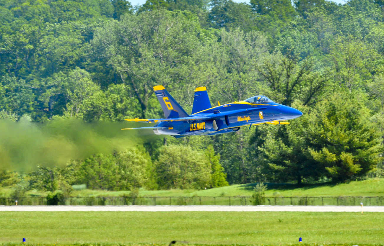 Blue angel flying low