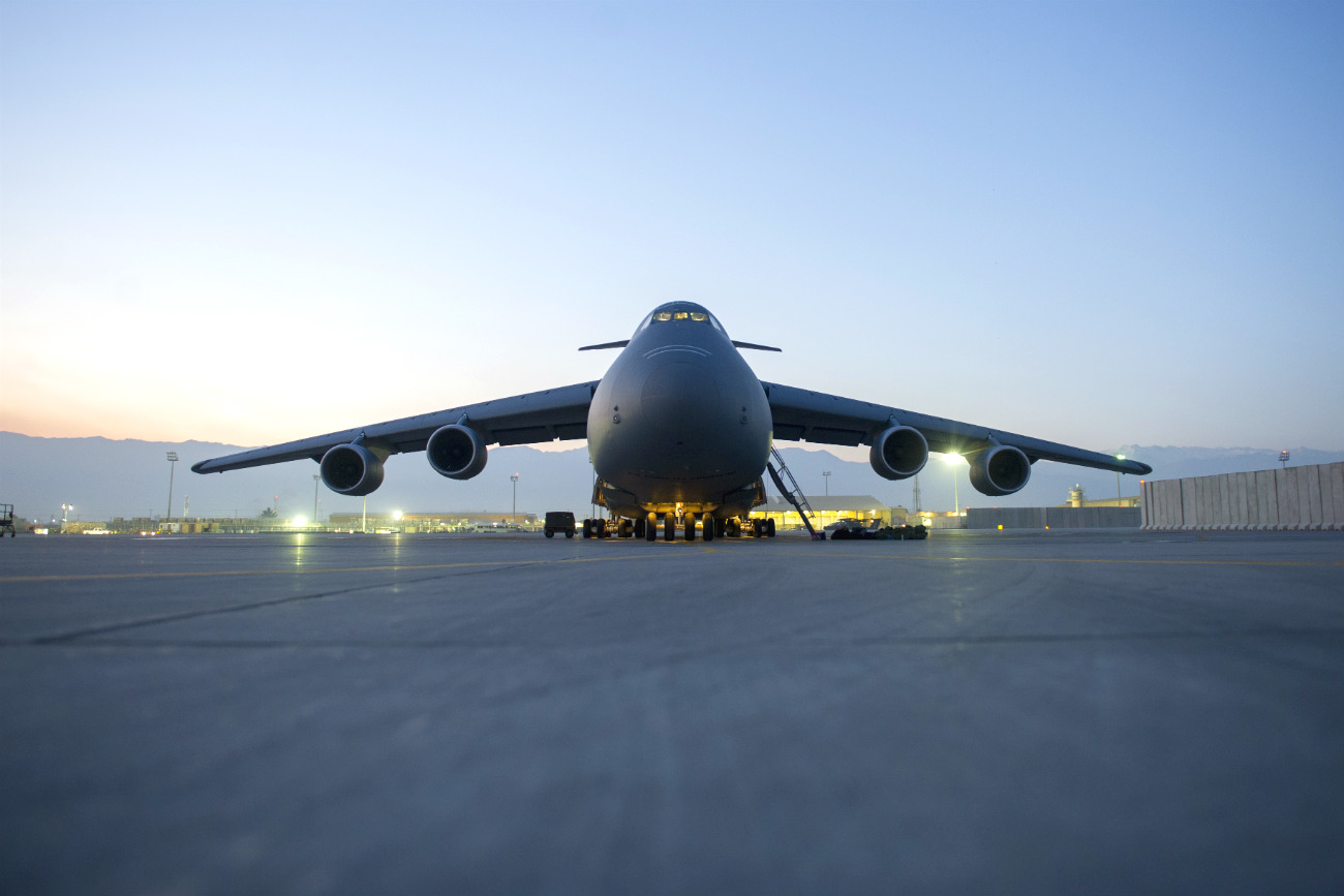 C-5 Galaxy parked sunrise