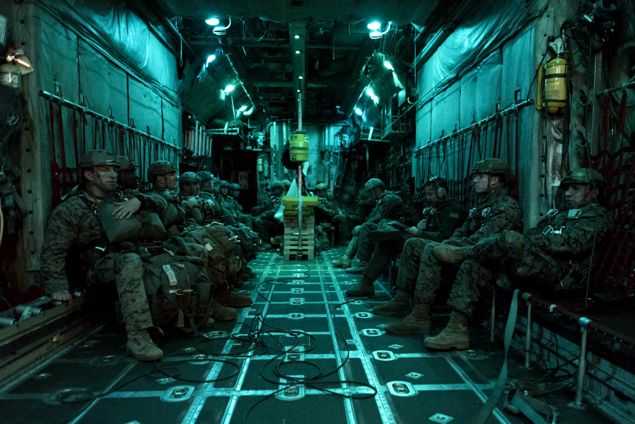 Marines Preparing for Jump from C-130