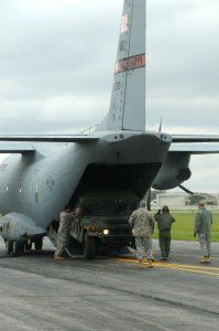 C-27J Loads Humvee