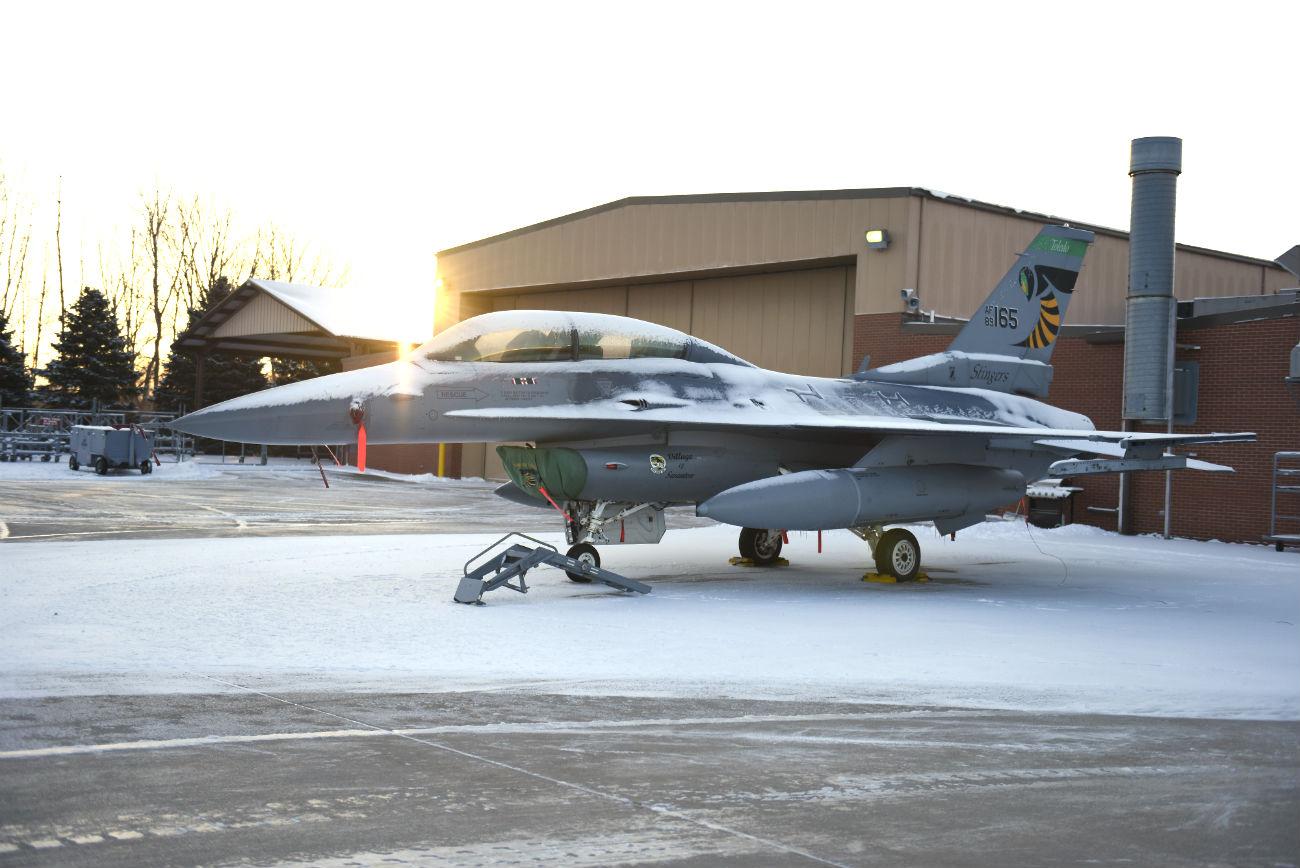 F-16 Aircraft Snow
