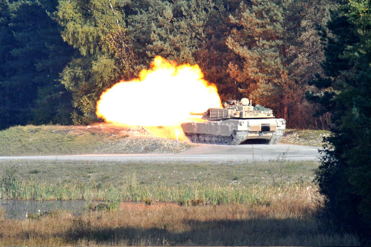 M1 Abrams tank firing round