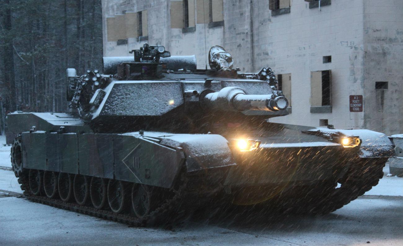 M1 Abrams tank snow green camo