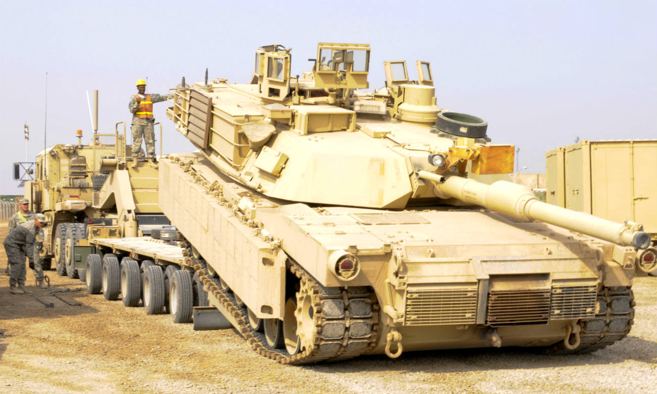 M1 Abrams tank unloading