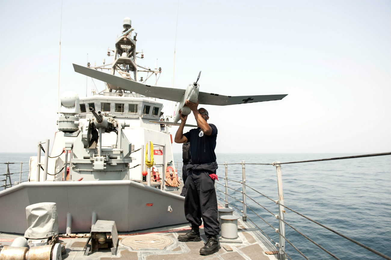 UAV thrown off ship