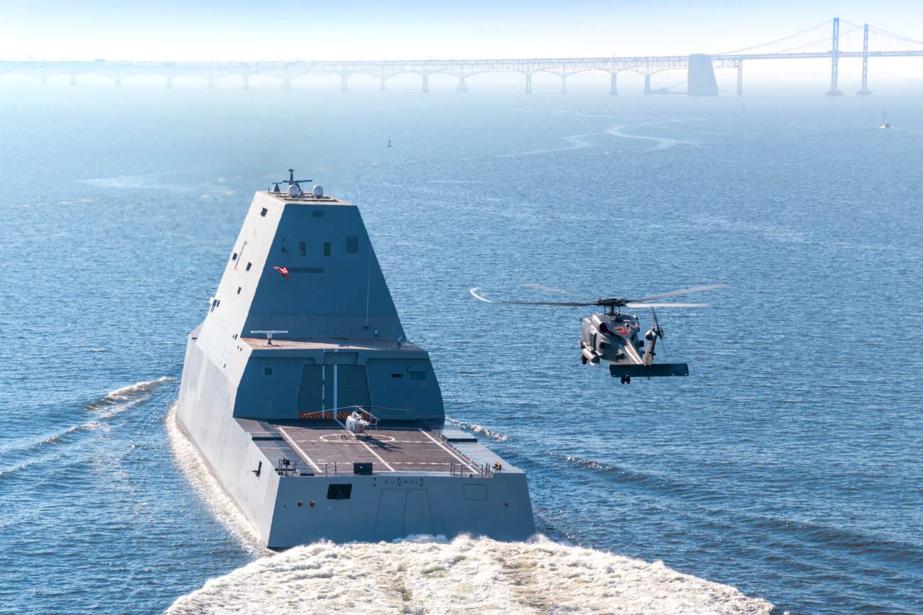 USS Zumwalt Helicopter landing
