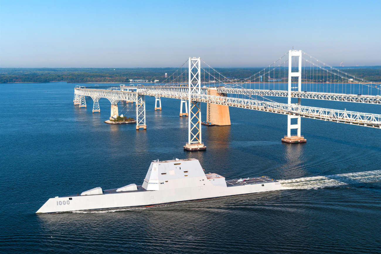 USS Zumwalt Under bridge