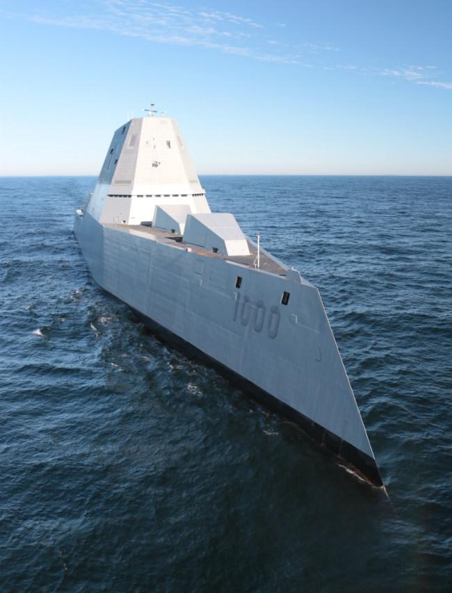 USS Zumwalt Warship Vertical