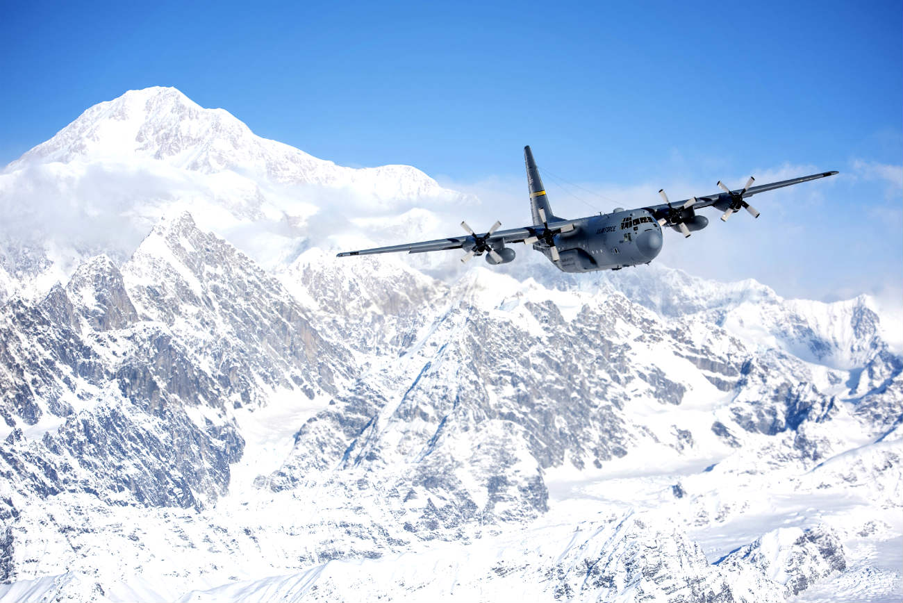 C-130 In Flight Over Denali National Park