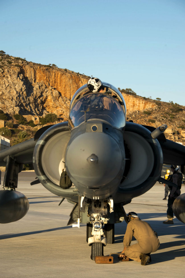 AV-8B Harrier Pilot preparing