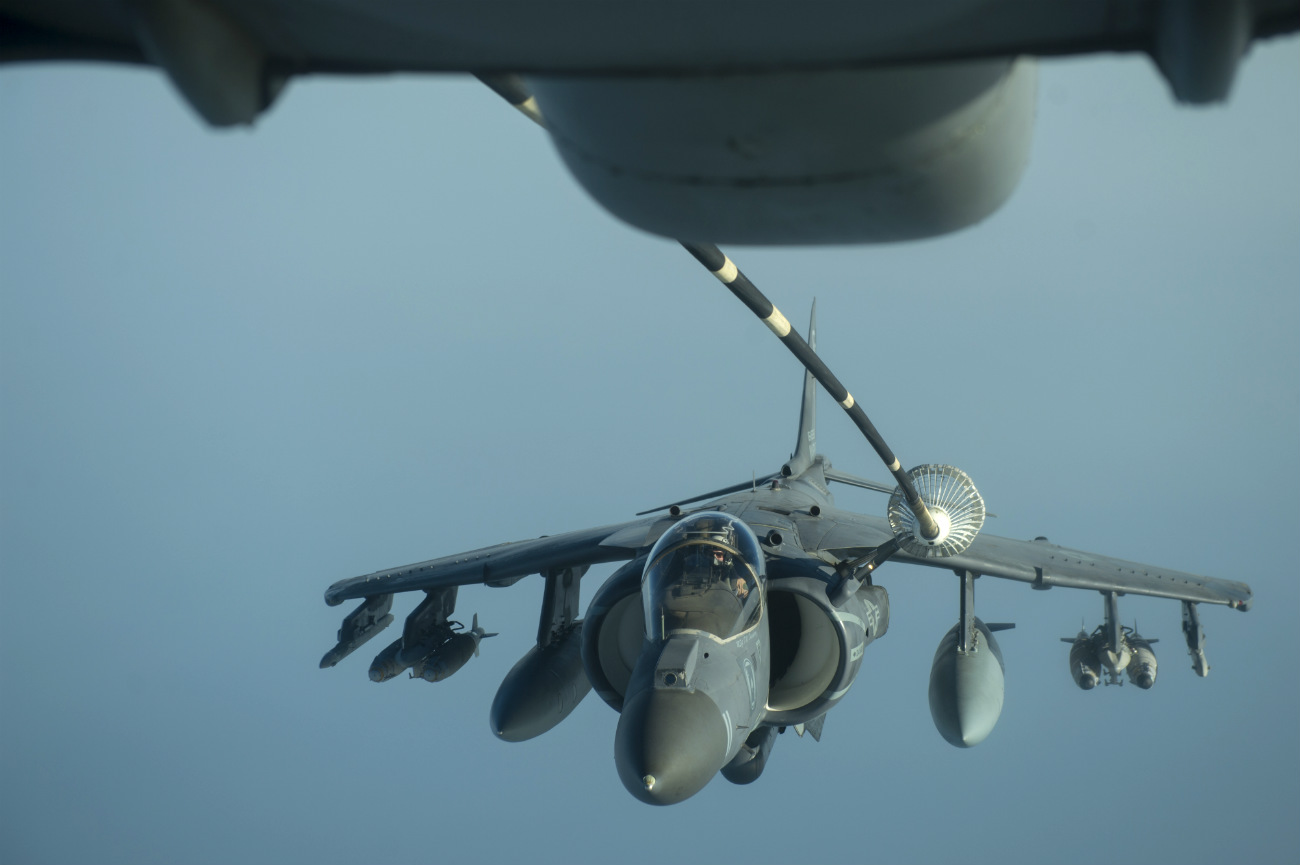 AV-8B Harrier Refuels in air