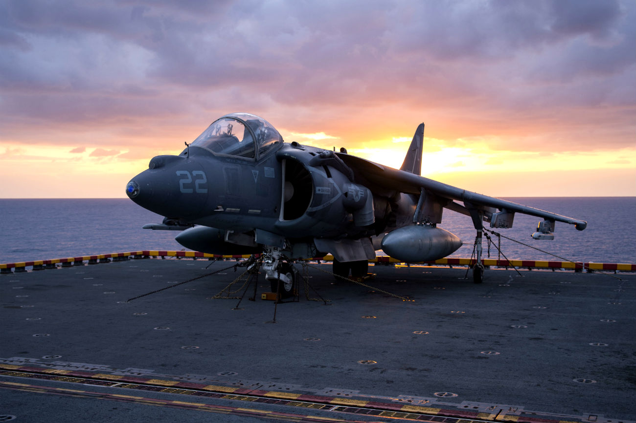 AV 8B Harrier carrier sunset
