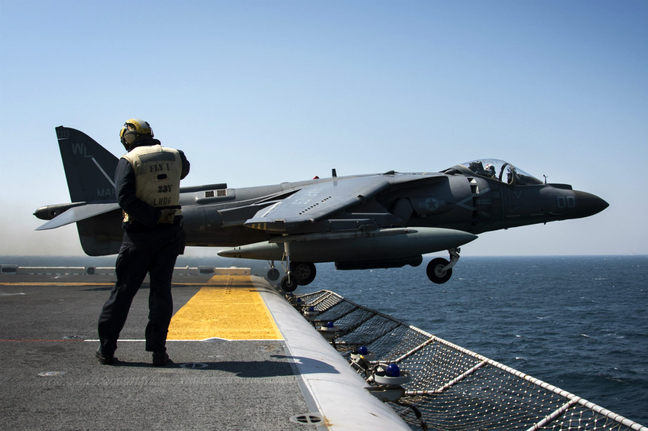 AV-8B Harrier takes off carrier