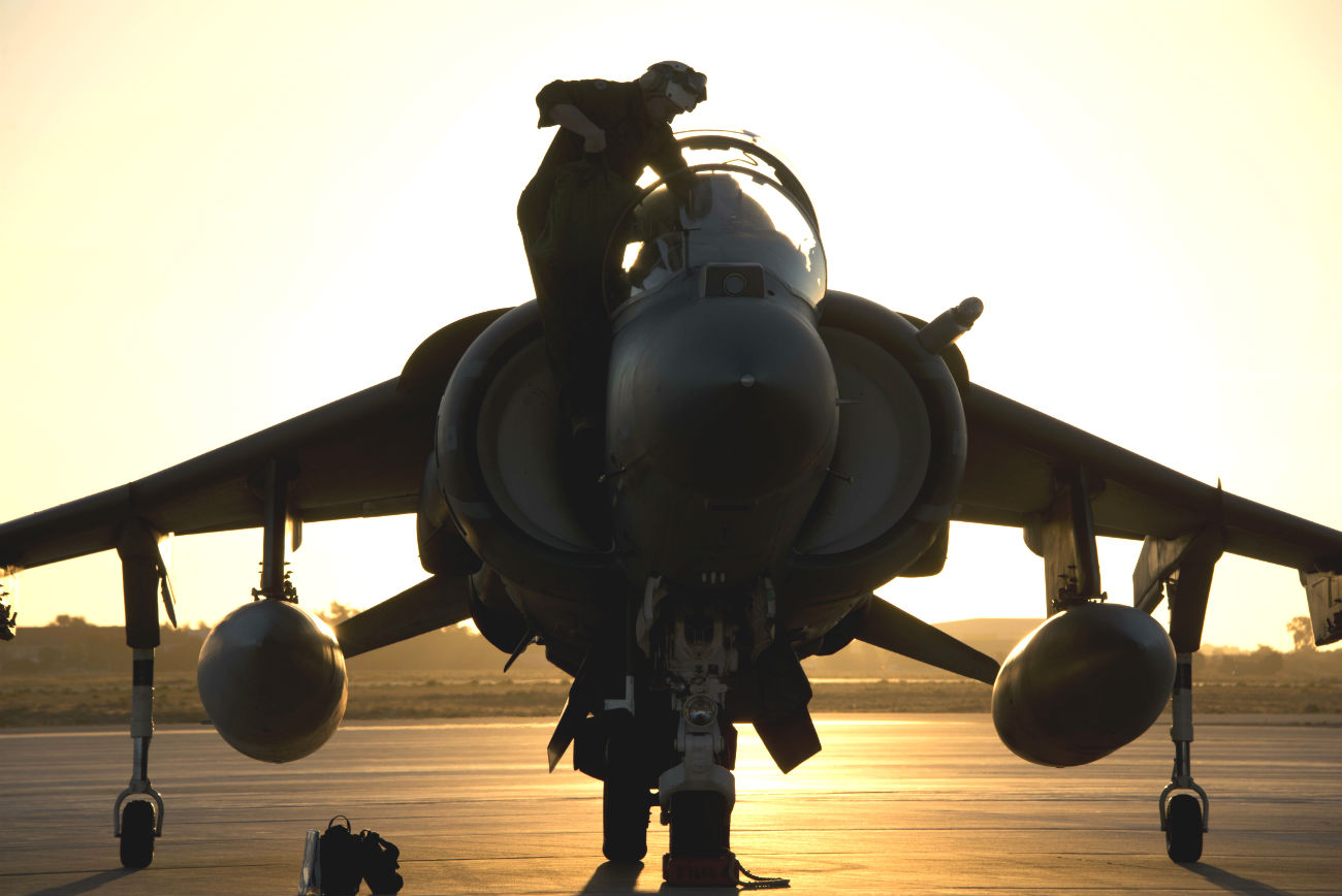 AV-8B harrier flight check sunset