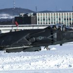 AV-8B harrier take off snow