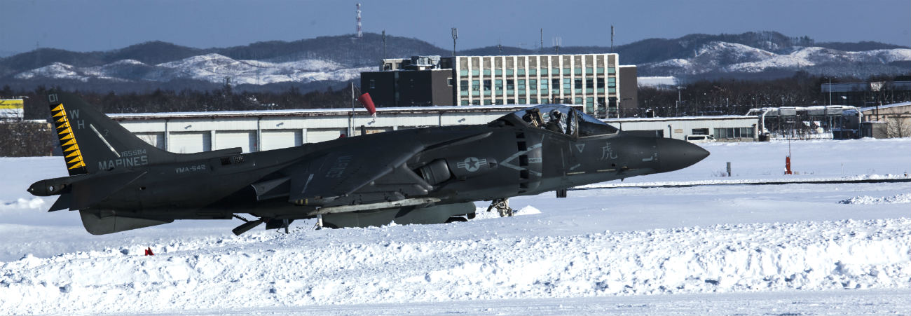 AV-8B harrier take off snow
