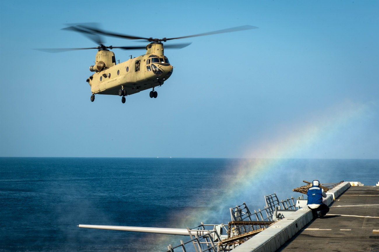 CH-47 Chinook Helicopter lands