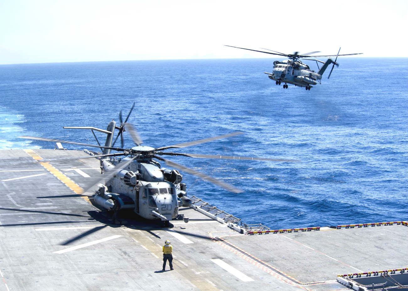 CH-53 Helicopters Landing on carrier