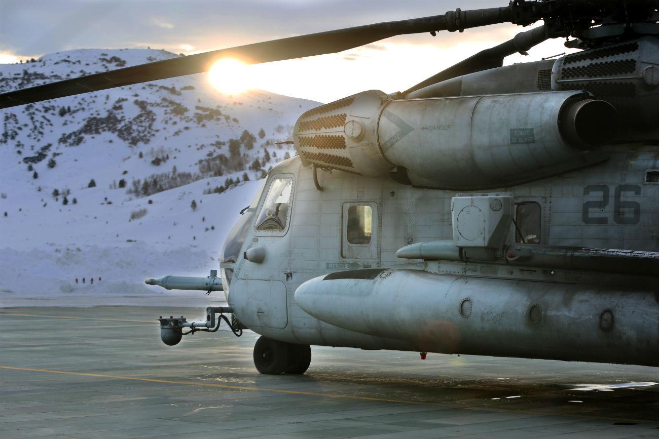 CH-53 Sea Stallion Parked sun rise