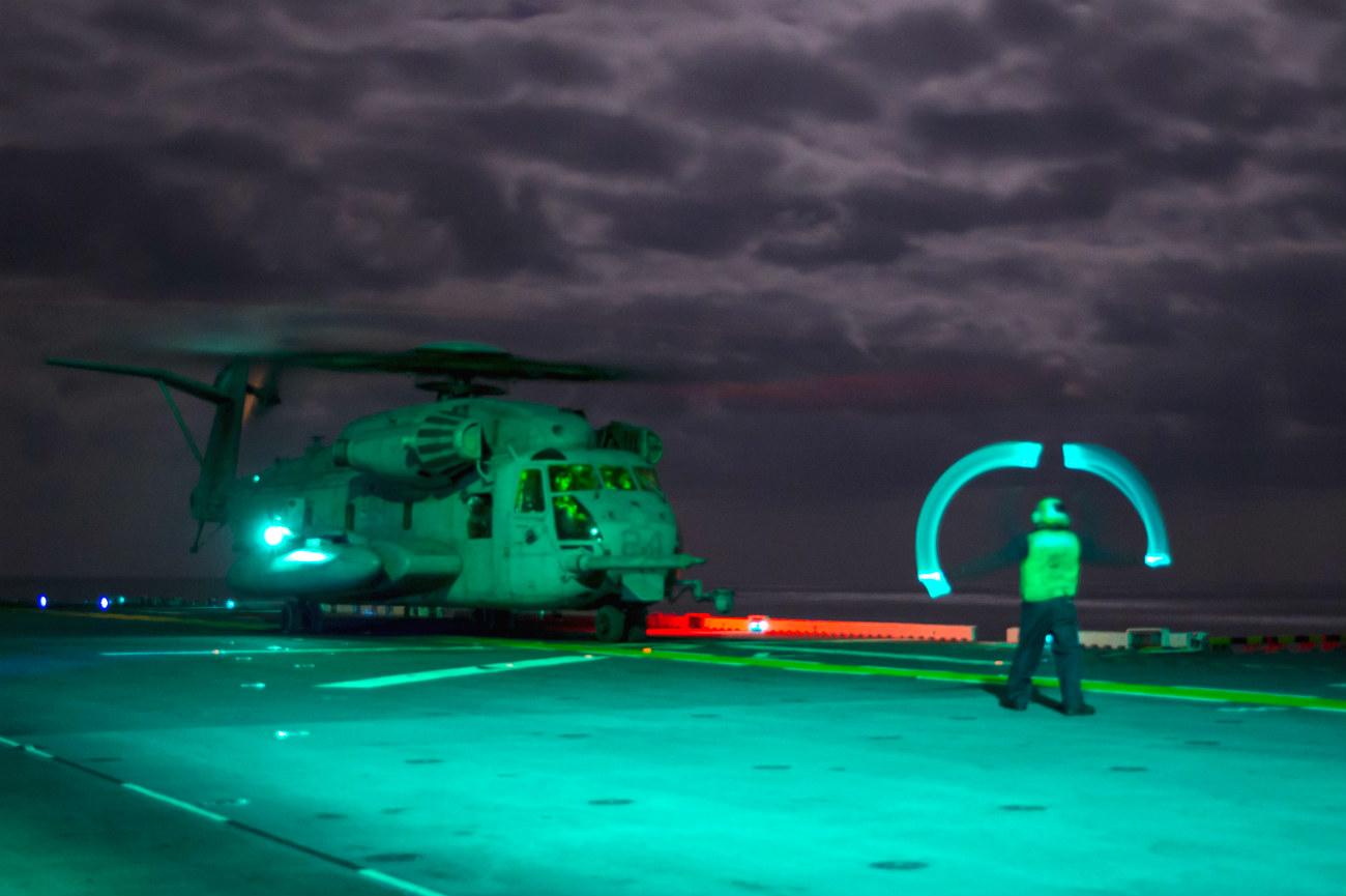 CH-53 Super Stallion night