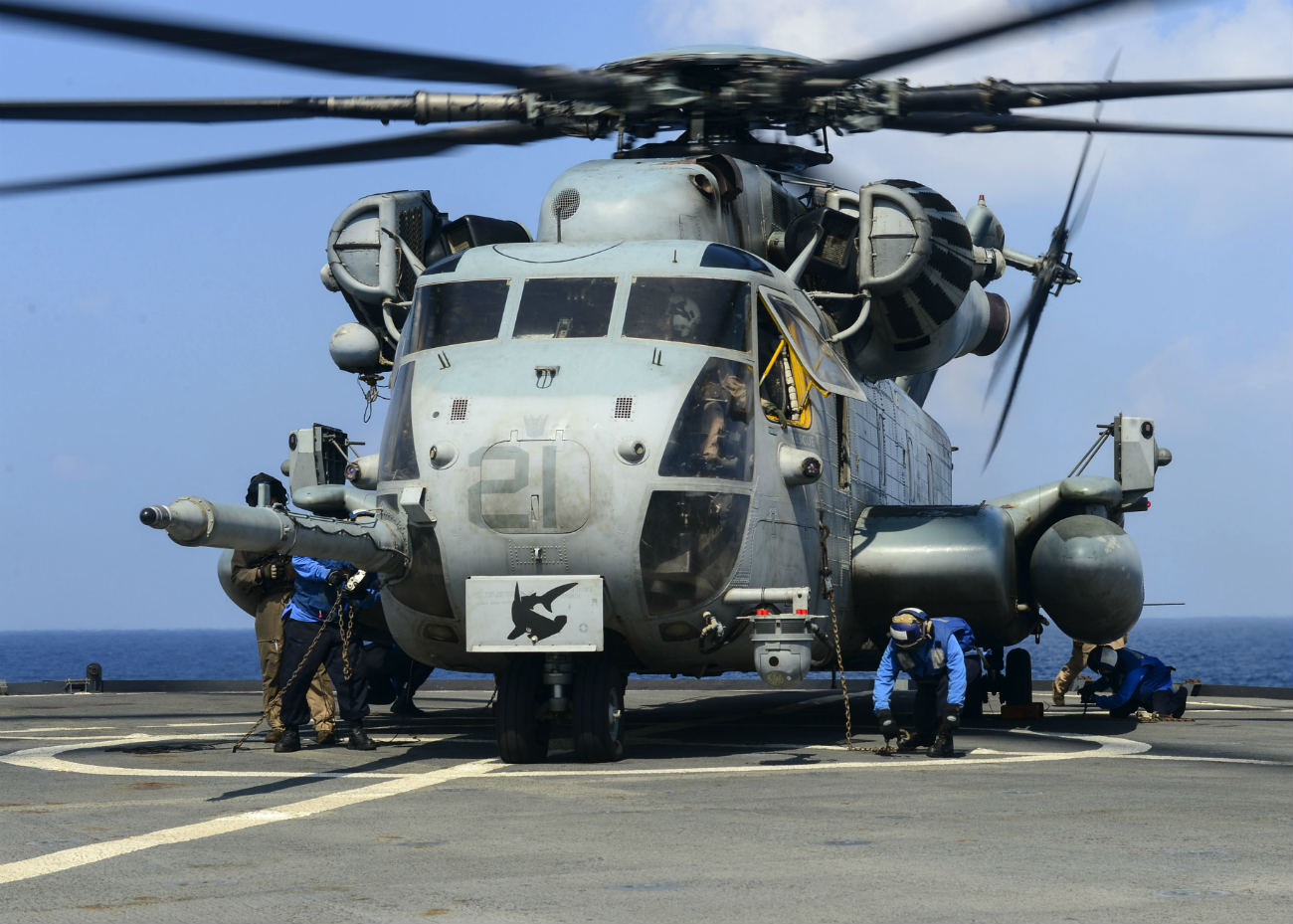 CH53 Sea Stallion Boards Aircraft Carrier