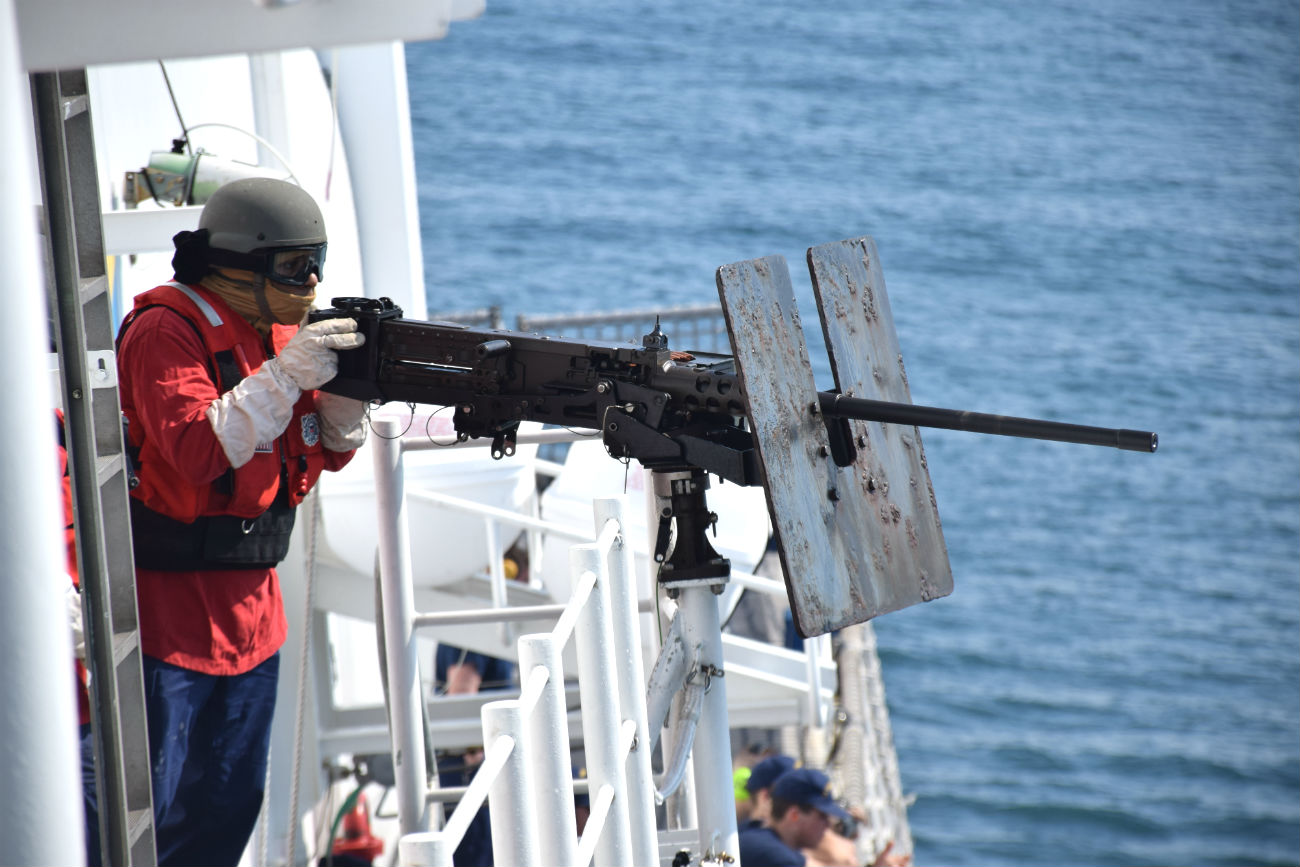 Coast Guard ship Machine gun
