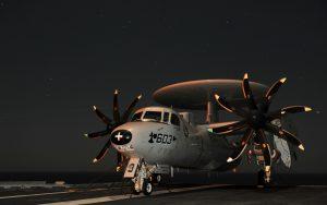 E-2 Hawkeye parked night