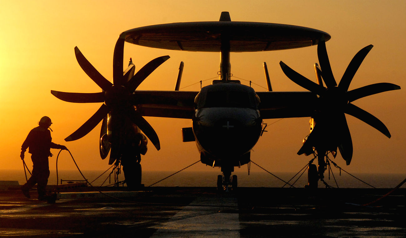 E-2 Hawkeye sunset