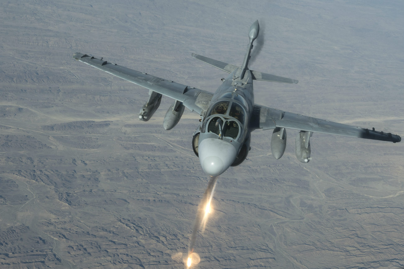 EA-6B Prowler fires flares