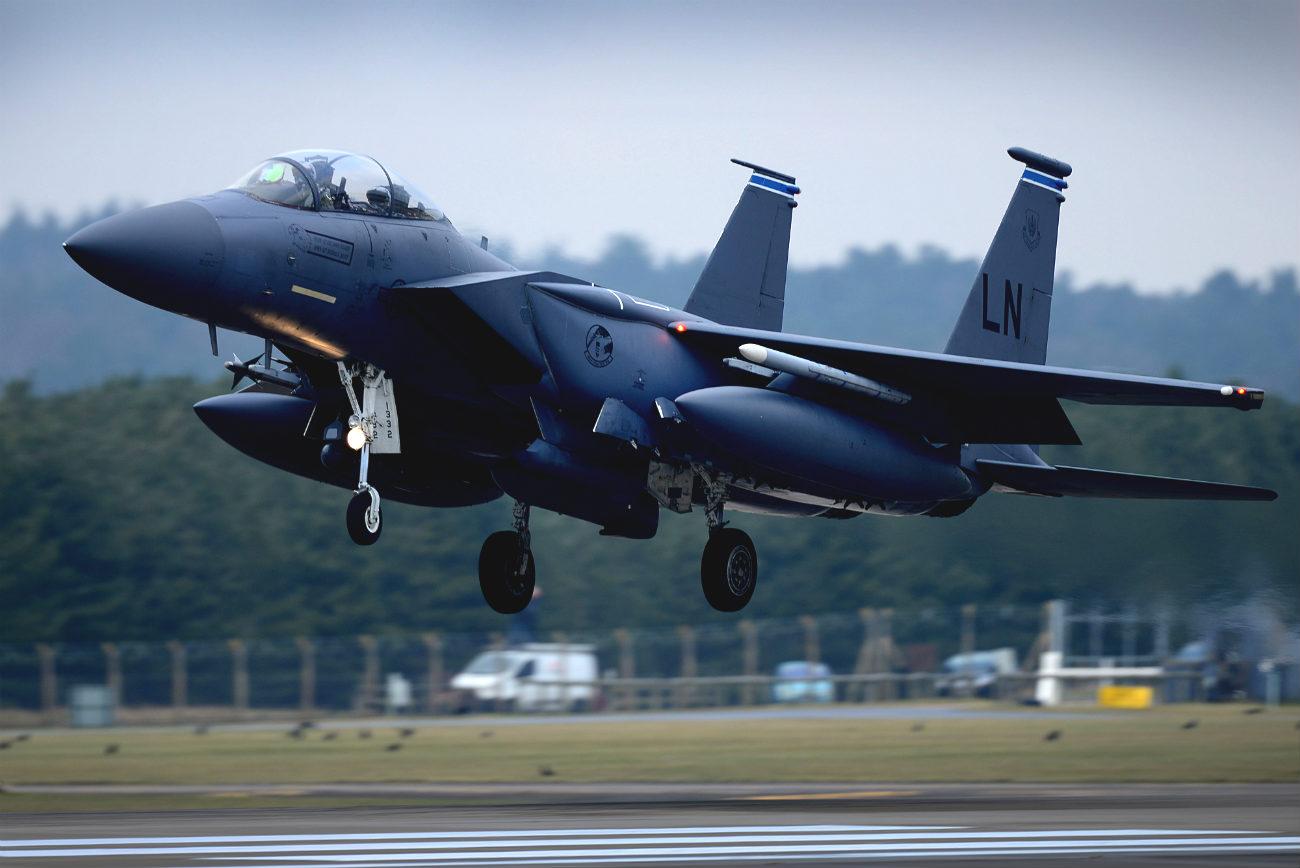 F-15 Eagle aircraft take off