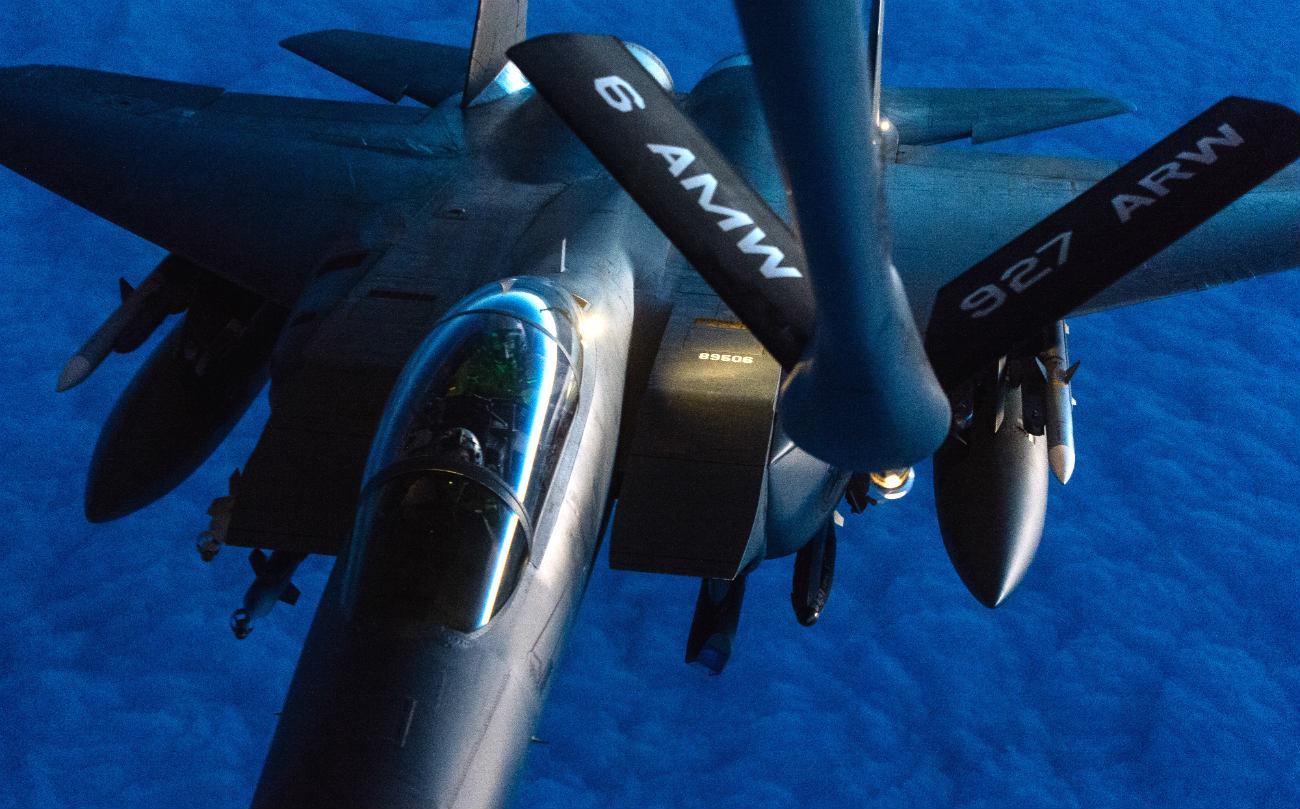 F-15 Eagle night refuel