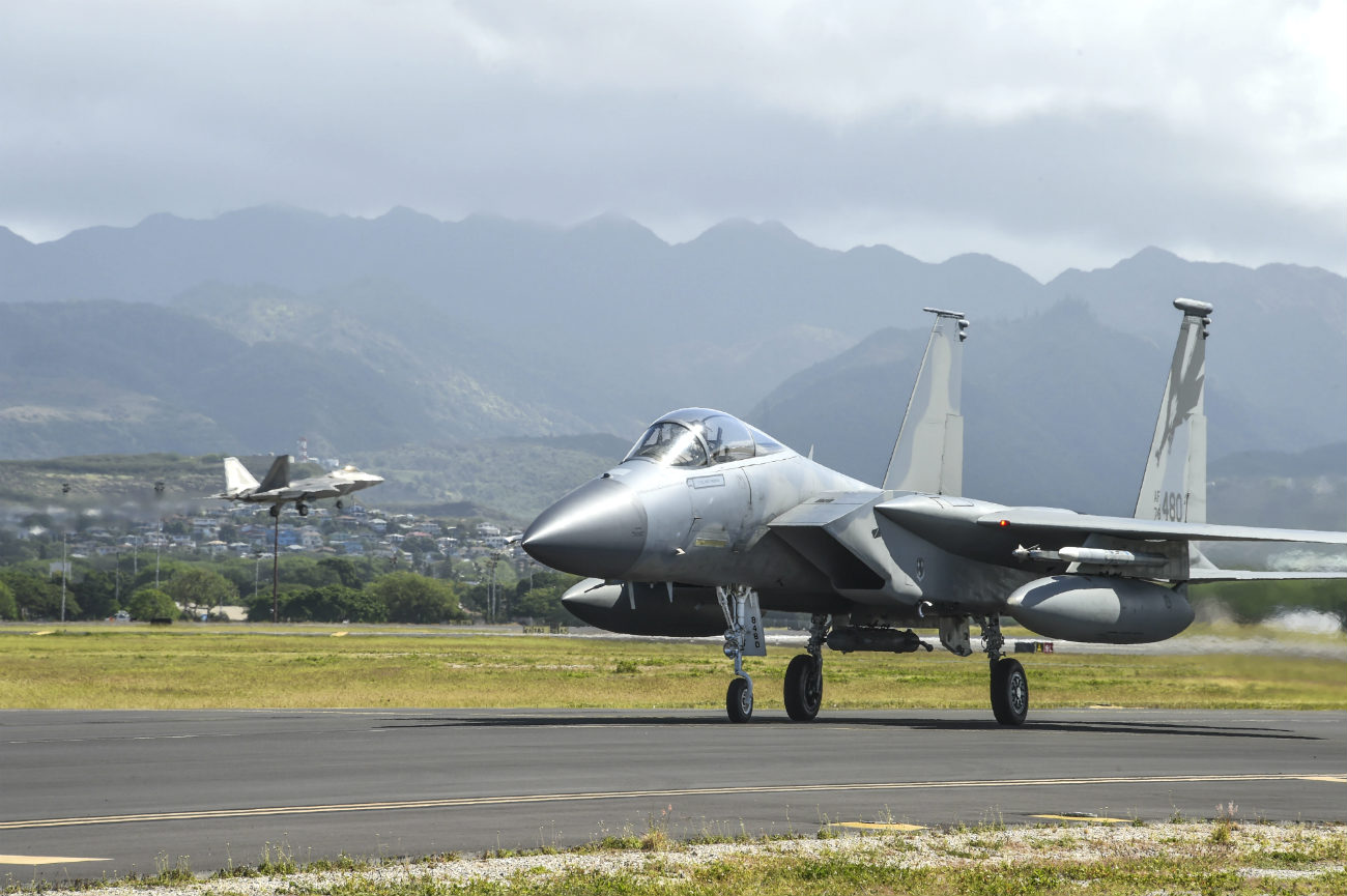F-15 aircraft prepares for take off