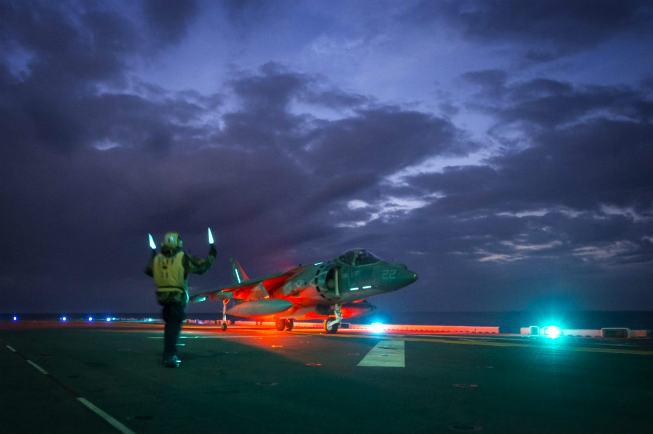 AV-8b Harrier Images aircraft on carrier night