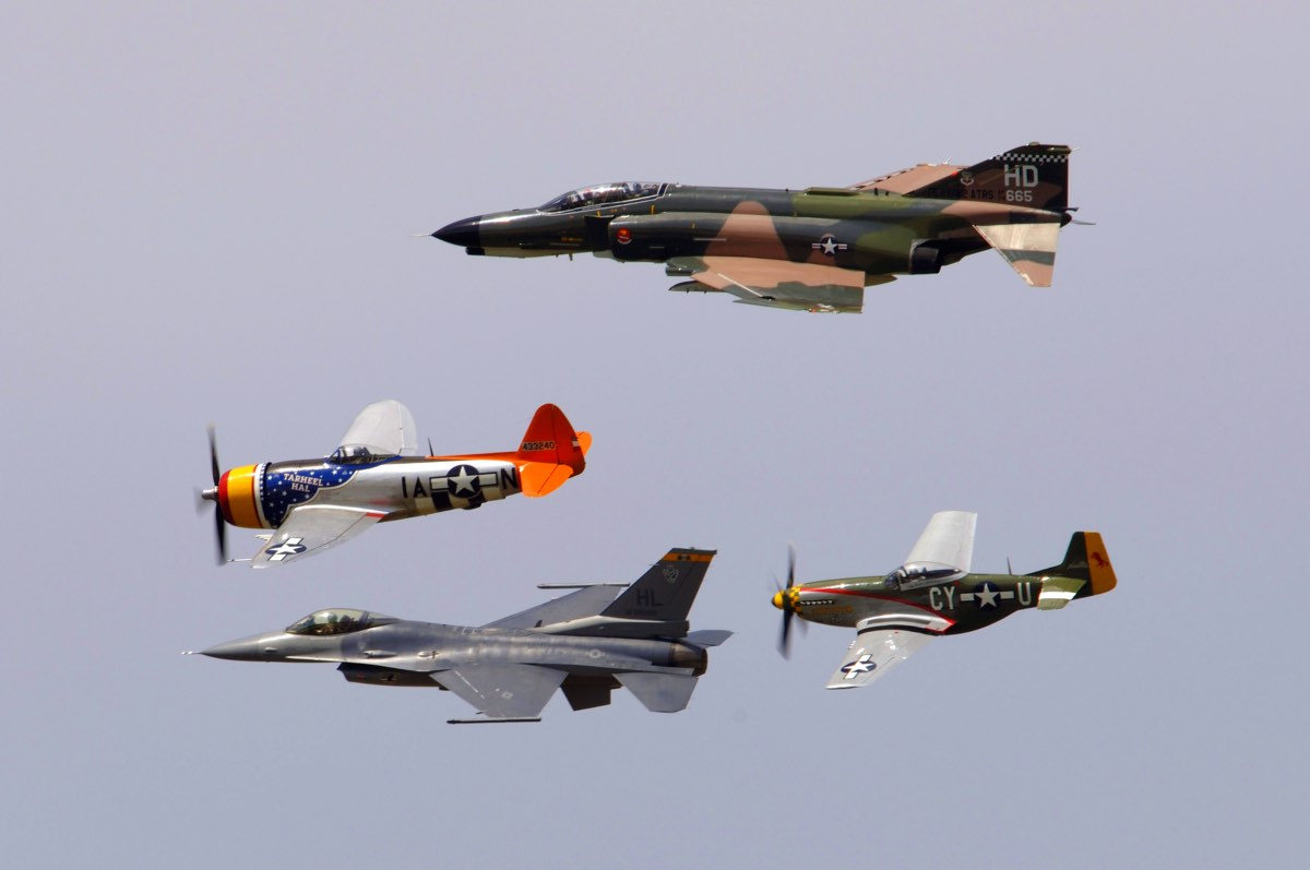 Heritage Flight F-4, P-47, F-16 and P-51