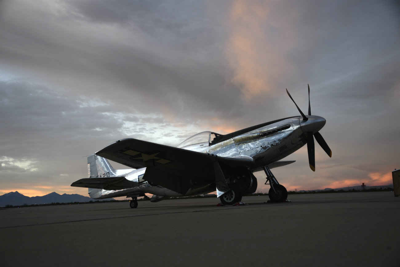 P-51 Mustang Aircraft sunset